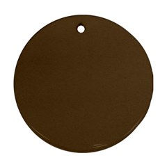 Brown Hide Solid Color  Ornament (round) by SimplyColor