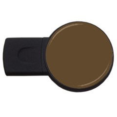 Brown Hide Solid Color  Usb Flash Drive Round (2 Gb) by SimplyColor