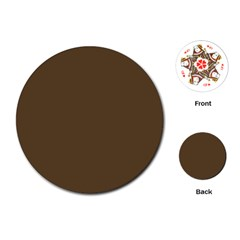Brown Hide Solid Color  Playing Cards (round)  by SimplyColor