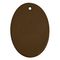 Brown Hide Solid Color  Oval Ornament (two Sides)