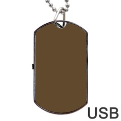 Brown Hide Solid Color  Dog Tag Usb Flash (one Side) by SimplyColor