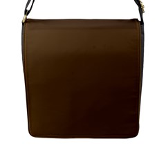 Brown Hide Solid Color  Flap Messenger Bag (l)  by SimplyColor