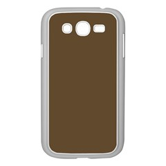 Brown Hide Solid Color  Samsung Galaxy Grand Duos I9082 Case (white) by SimplyColor
