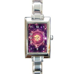 A Gold And Royal Purple Fractal Map Of The Stars Rectangle Italian Charm Watch by beautifulfractals