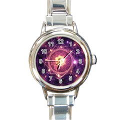 A Gold And Royal Purple Fractal Map Of The Stars Round Italian Charm Watch by beautifulfractals