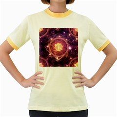 A Gold And Royal Purple Fractal Map Of The Stars Women s Fitted Ringer T Shirts by beautifulfractals