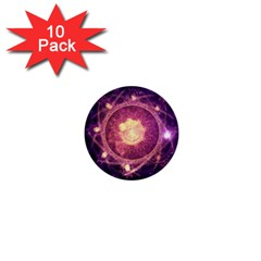 A Gold And Royal Purple Fractal Map Of The Stars 1  Mini Buttons (10 Pack)  by beautifulfractals