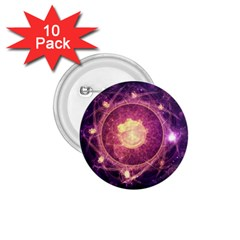 A Gold And Royal Purple Fractal Map Of The Stars 1 75  Buttons (10 Pack)
