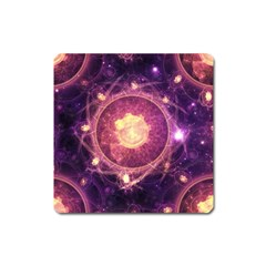 A Gold And Royal Purple Fractal Map Of The Stars Square Magnet by jayaprime