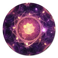 A Gold And Royal Purple Fractal Map Of The Stars Magnet 5  (round) by beautifulfractals