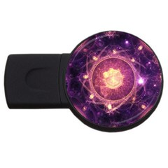 A Gold And Royal Purple Fractal Map Of The Stars Usb Flash Drive Round (2 Gb) by jayaprime