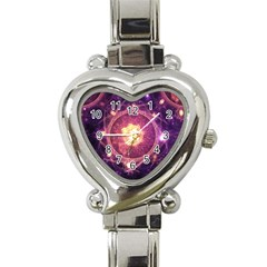 A Gold And Royal Purple Fractal Map Of The Stars Heart Italian Charm Watch by beautifulfractals