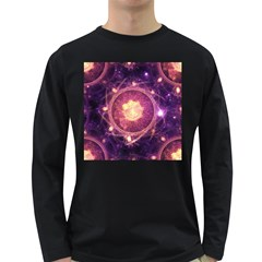 A Gold And Royal Purple Fractal Map Of The Stars Long Sleeve Dark T Shirts