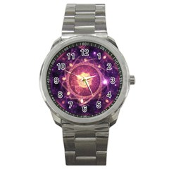 A Gold And Royal Purple Fractal Map Of The Stars Sport Metal Watch by beautifulfractals