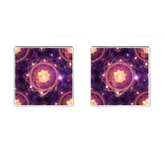 A Gold And Royal Purple Fractal Map Of The Stars Cufflinks (square) by jayaprime