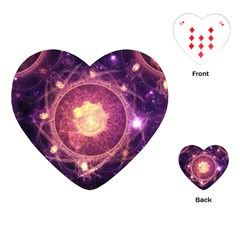 A Gold And Royal Purple Fractal Map Of The Stars Playing Cards (heart)  by beautifulfractals