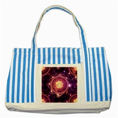 A Gold And Royal Purple Fractal Map Of The Stars Striped Blue Tote Bag by jayaprime