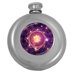 A Gold And Royal Purple Fractal Map Of The Stars Round Hip Flask (5 Oz) by jayaprime