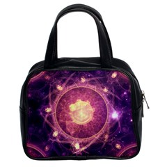 A Gold And Royal Purple Fractal Map Of The Stars Classic Handbags (2 Sides) by jayaprime