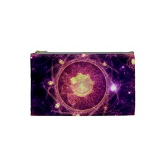 A Gold And Royal Purple Fractal Map Of The Stars Cosmetic Bag (small)  by jayaprime