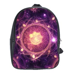 A Gold And Royal Purple Fractal Map Of The Stars School Bags(large)