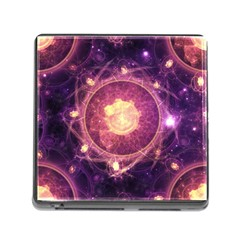 A Gold And Royal Purple Fractal Map Of The Stars Memory Card Reader (square)
