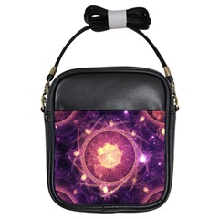 A Gold And Royal Purple Fractal Map Of The Stars Girls Sling Bags by jayaprime
