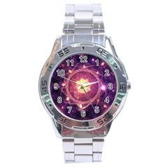 A Gold And Royal Purple Fractal Map Of The Stars Stainless Steel Analogue Watch by jayaprime