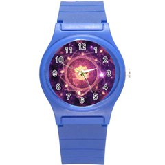 A Gold And Royal Purple Fractal Map Of The Stars Round Plastic Sport Watch (s) by jayaprime