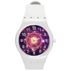 A Gold And Royal Purple Fractal Map Of The Stars Round Plastic Sport Watch (m) by beautifulfractals