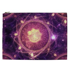 A Gold And Royal Purple Fractal Map Of The Stars Cosmetic Bag (xxl)  by jayaprime