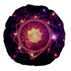 A Gold And Royal Purple Fractal Map Of The Stars Large 18  Premium Round Cushions