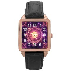 A Gold And Royal Purple Fractal Map Of The Stars Rose Gold Leather Watch  by jayaprime