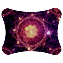 A Gold And Royal Purple Fractal Map Of The Stars Jigsaw Puzzle Photo Stand (bow) by jayaprime