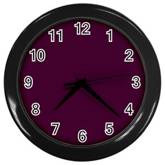 Black Cherry Solid Color Wall Clocks (black) by SimplyColor
