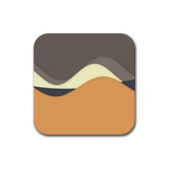 Wave Chevron Waves Material Rubber Square Coaster (4 Pack)  by Mariart