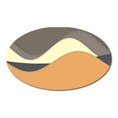 Wave Chevron Waves Material Oval Magnet by Mariart
