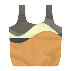 Wave Chevron Waves Material Full Print Recycle Bags (l)  by Mariart