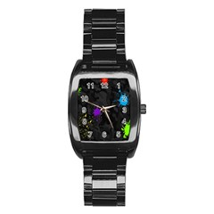 Black Camo Shot Spot Paint Stainless Steel Barrel Watch by Mariart