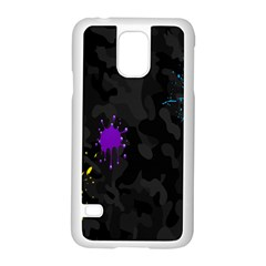 Black Camo Shot Spot Paint Samsung Galaxy S5 Case (white) by Mariart