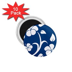 Blue Hawaiian Flower Floral 1 75  Magnets (10 Pack)  by Mariart