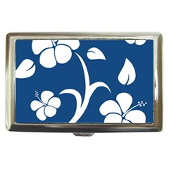 Blue Hawaiian Flower Floral Cigarette Money Cases by Mariart