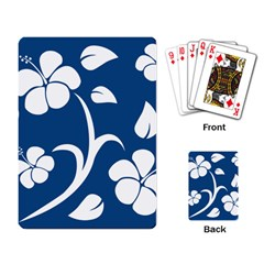 Blue Hawaiian Flower Floral Playing Card by Mariart