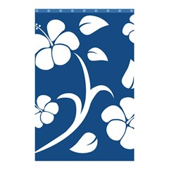 Blue Hawaiian Flower Floral Shower Curtain 48  X 72  (small)  by Mariart