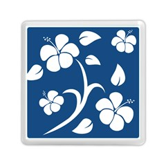 Blue Hawaiian Flower Floral Memory Card Reader (square)  by Mariart