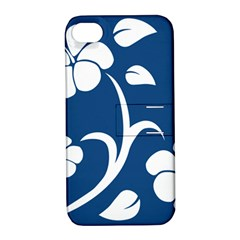 Blue Hawaiian Flower Floral Apple Iphone 4/4s Hardshell Case With Stand by Mariart