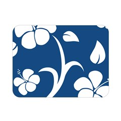 Blue Hawaiian Flower Floral Double Sided Flano Blanket (mini)  by Mariart