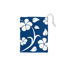 Blue Hawaiian Flower Floral Drawstring Pouches (xs)  by Mariart