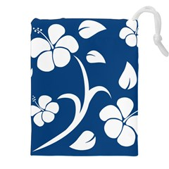 Blue Hawaiian Flower Floral Drawstring Pouches (xxl) by Mariart