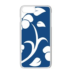 Blue Hawaiian Flower Floral Apple Iphone 7 Plus White Seamless Case by Mariart